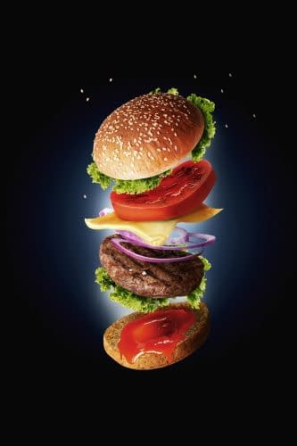 Hamburger with flying ingredients - fast food concept